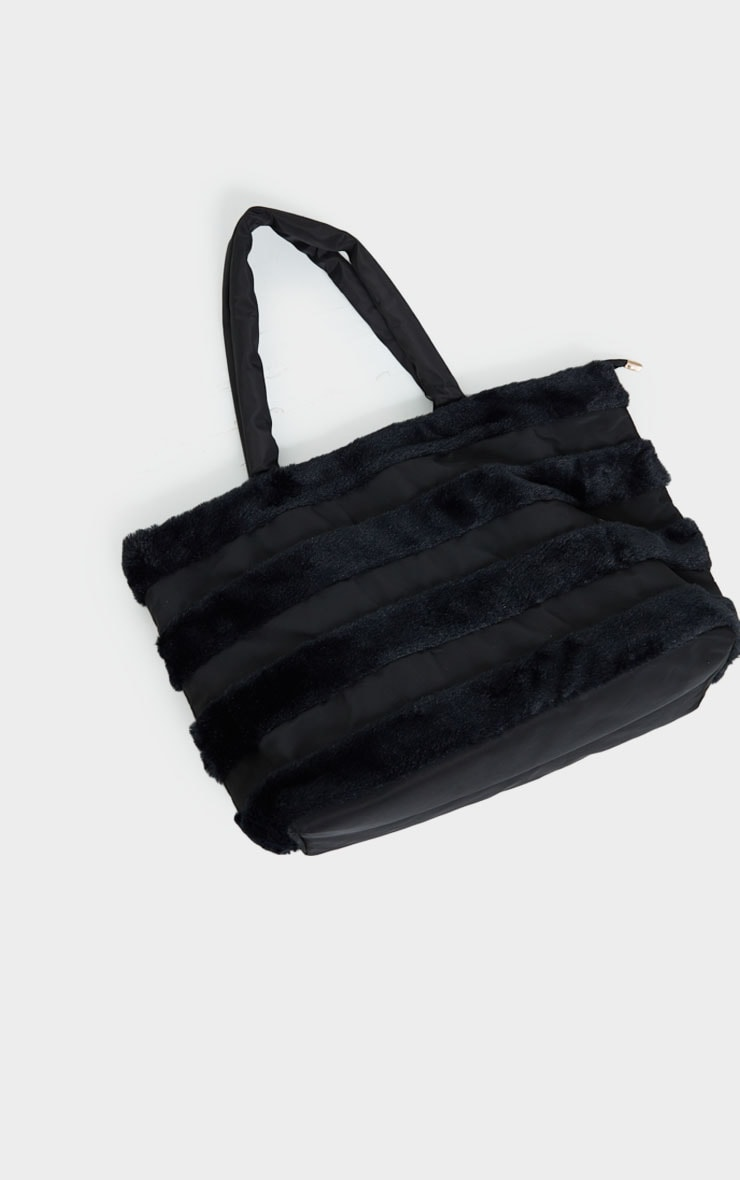 Black Oversized Faux Fur Row Tote Bag 2
