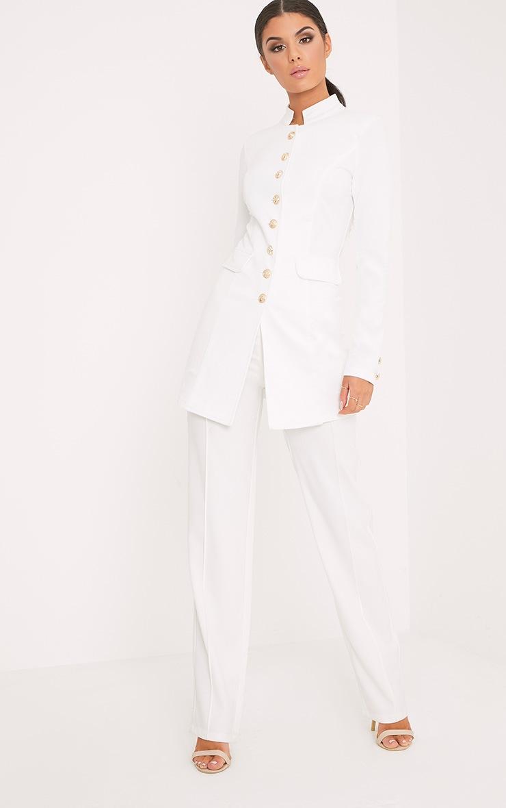 Deleana White Longling Military Style Jacket 4