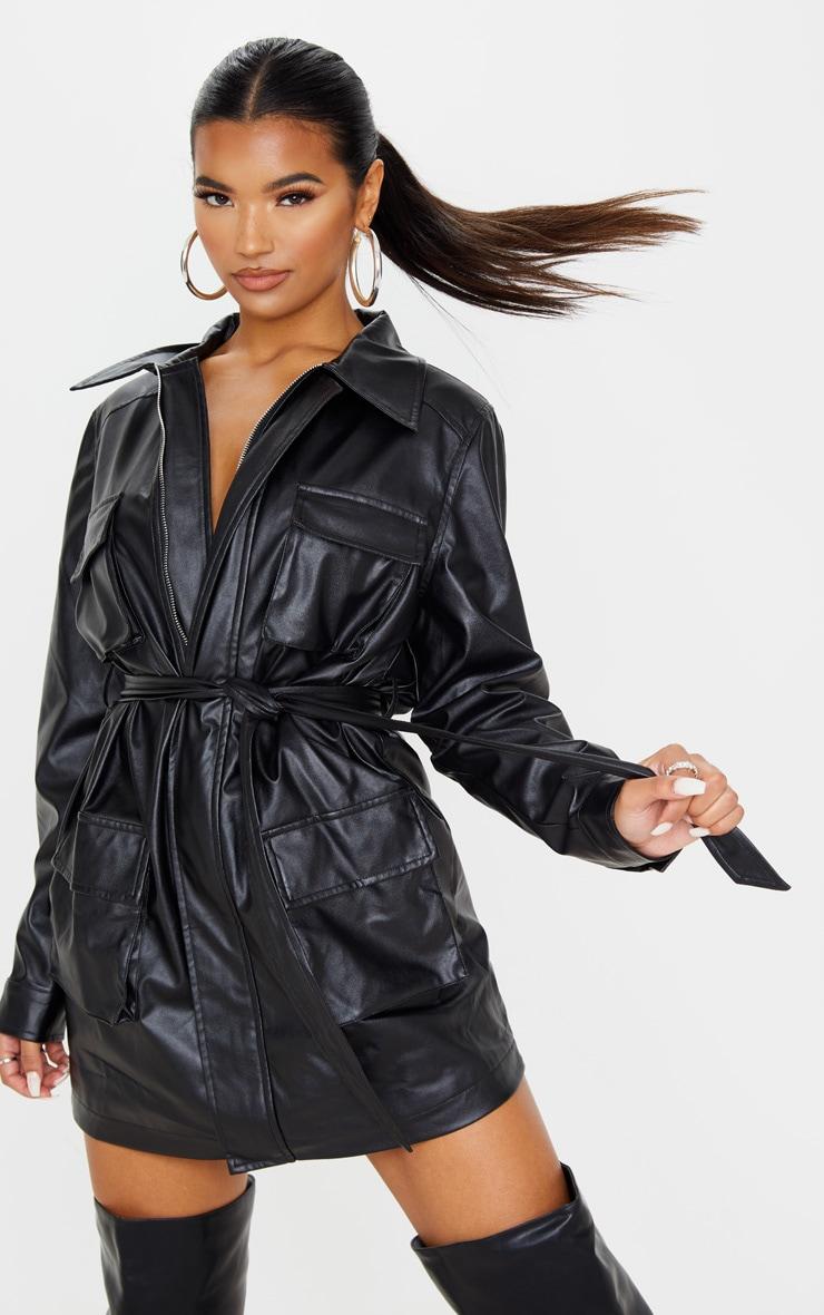 Black Faux Leather Pocket Oversized Jacket 1