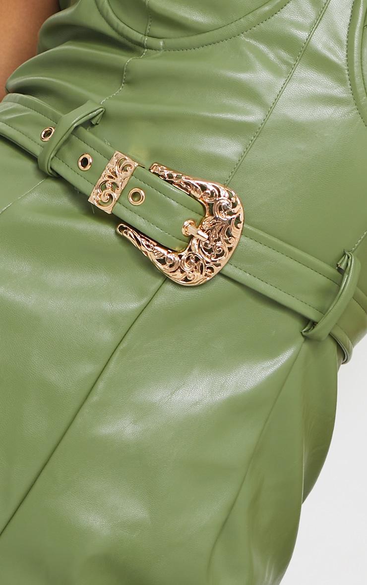 Khaki PU Cup Detail Belted Jumpsuit 4
