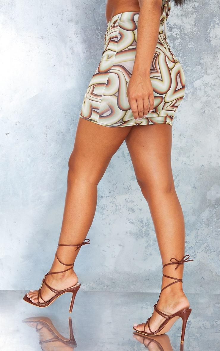 Green Swirl Print Slinky Ruched Side Mini Skirt 3