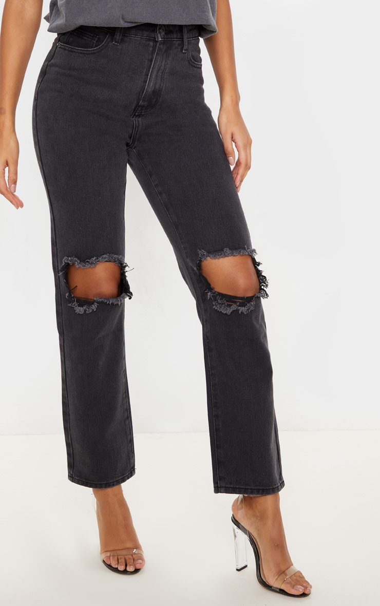 PRETTYLITTLETHING Washed Black Knee Rip Straight Leg Jean 2