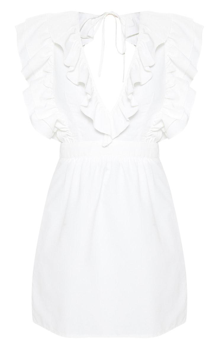 White Ruffle Tie Back Skater Dress 3