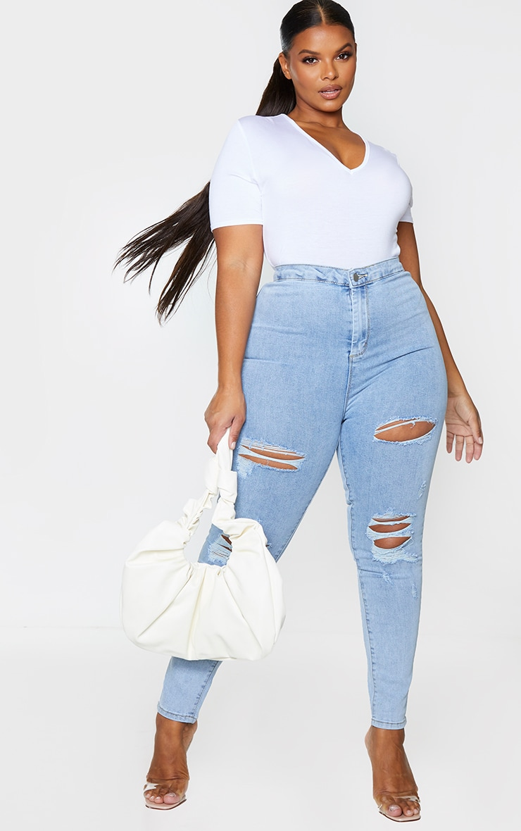 PRETTYLITTLETHING Plus Vintage Wash Distressed Disco Skinny Jean 1