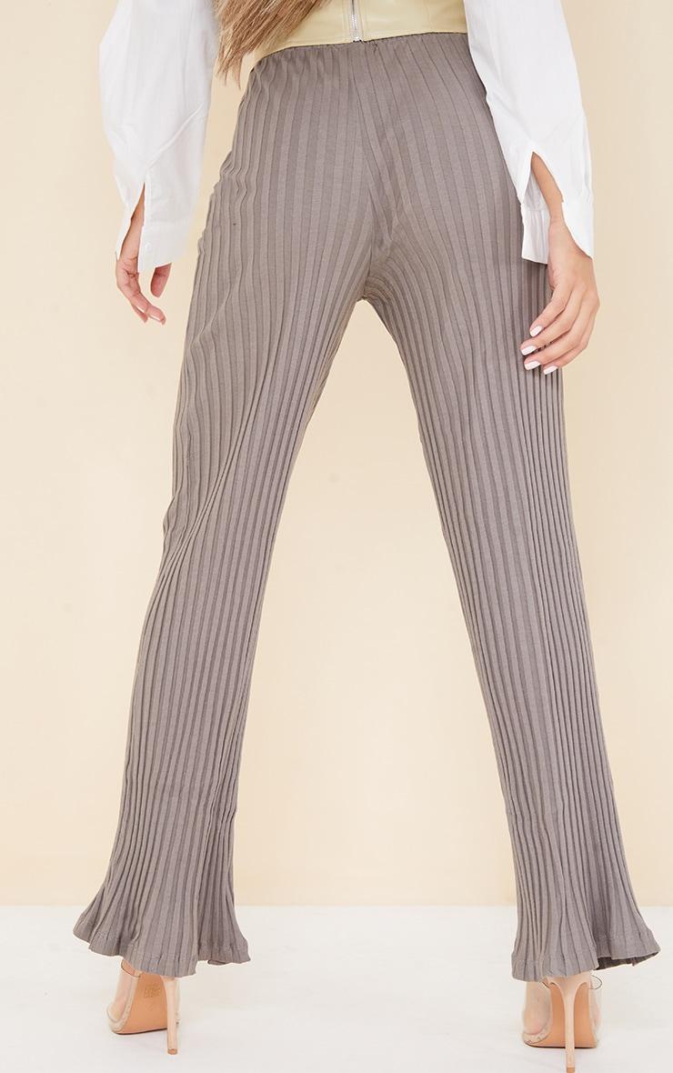 Charcoal  Jumbo Cotton Rib Wide Leg Pants 3