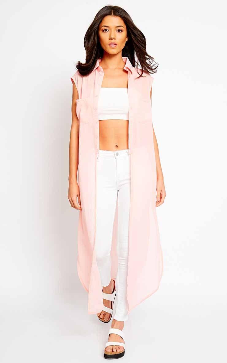 Cyndi Pink Cut Out Shirt Dress 4