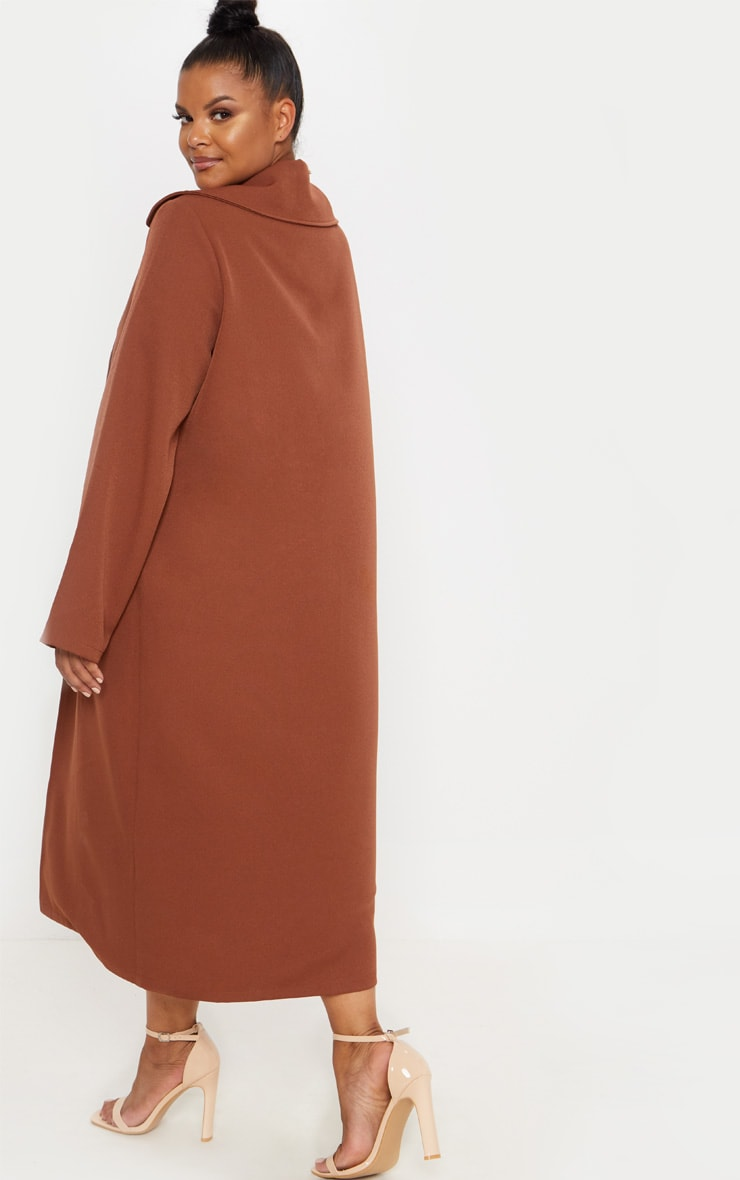 Plus Chocolate Brown Longline Duster Coat 2
