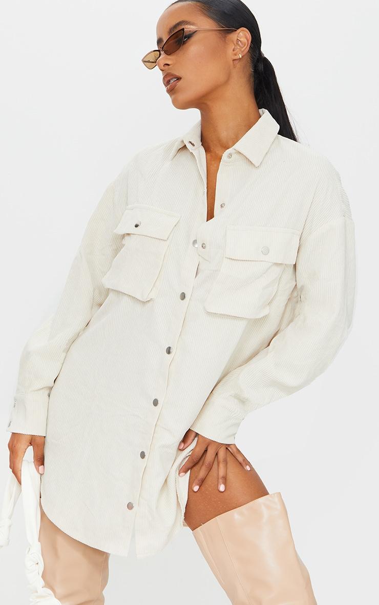 Cream Cord Pocket Detail Shirt Dress 1