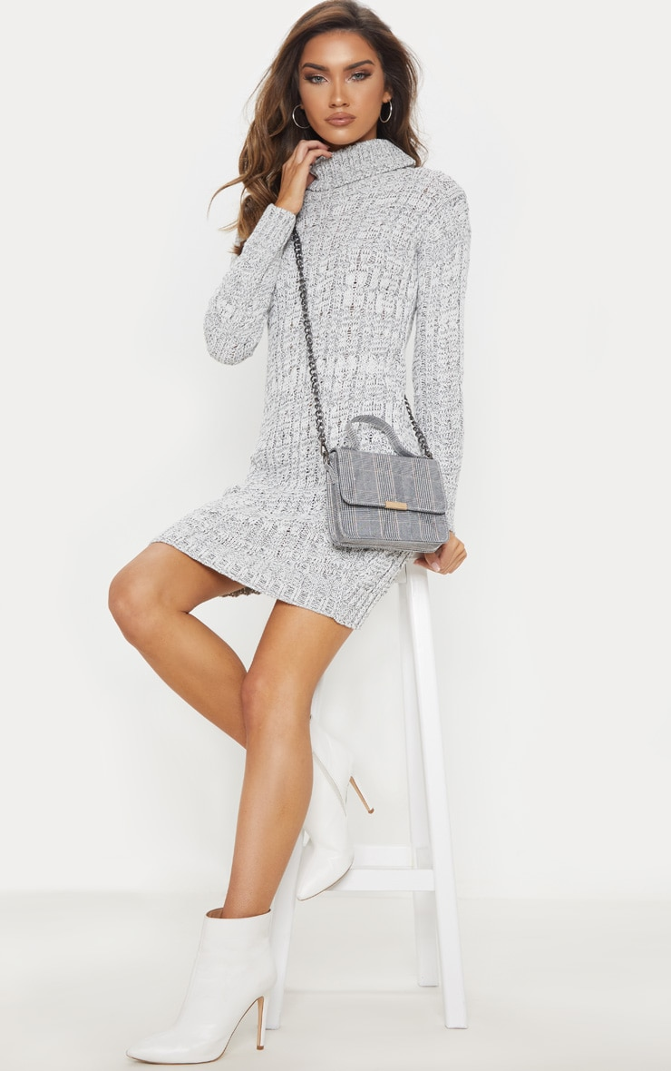 Grey Cable Knit High Neck Jumper Dress 4