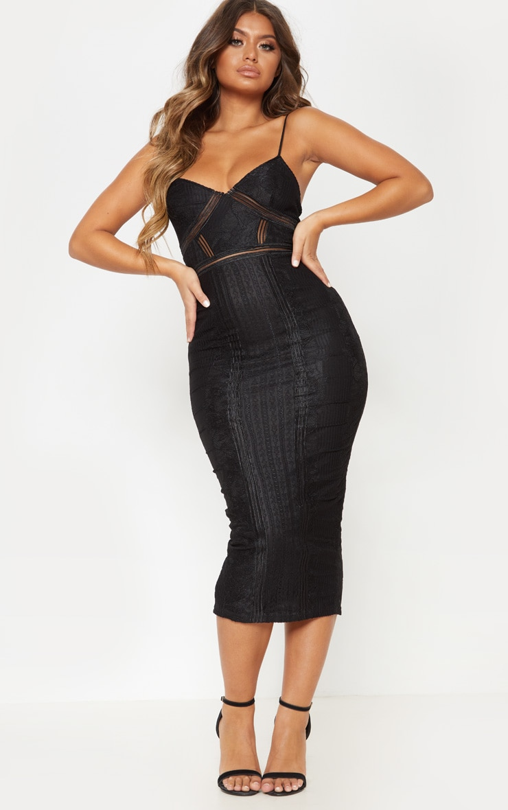 Black Lace Mesh Stripe Insert Midi Dress 4