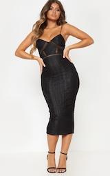Black Lace Mesh Stripe Insert Midi Dress 4