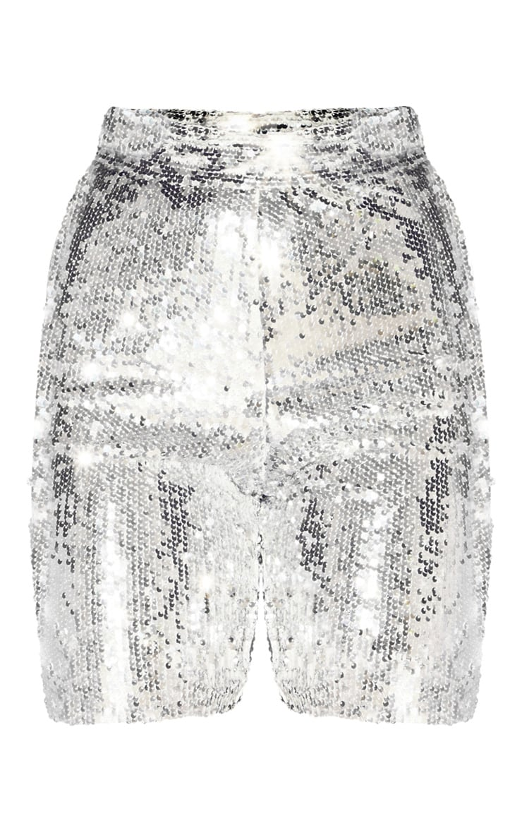 Silver Sequin Bike Shorts 3