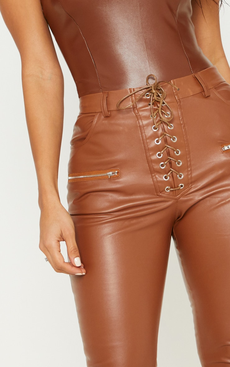 wide selection of colors reputation first baby Chocolate Faux Leather Lace Up Front Skinny Pants