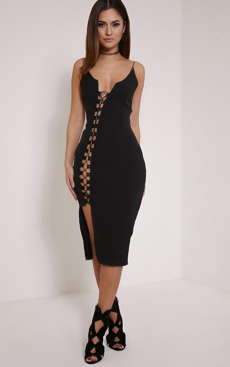 Lovina robe moulante à lacets noire 4