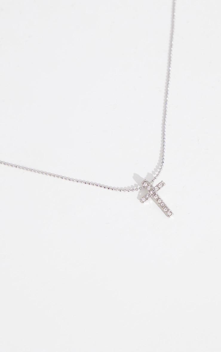 Silver Diamante Mini Cross Necklace 3