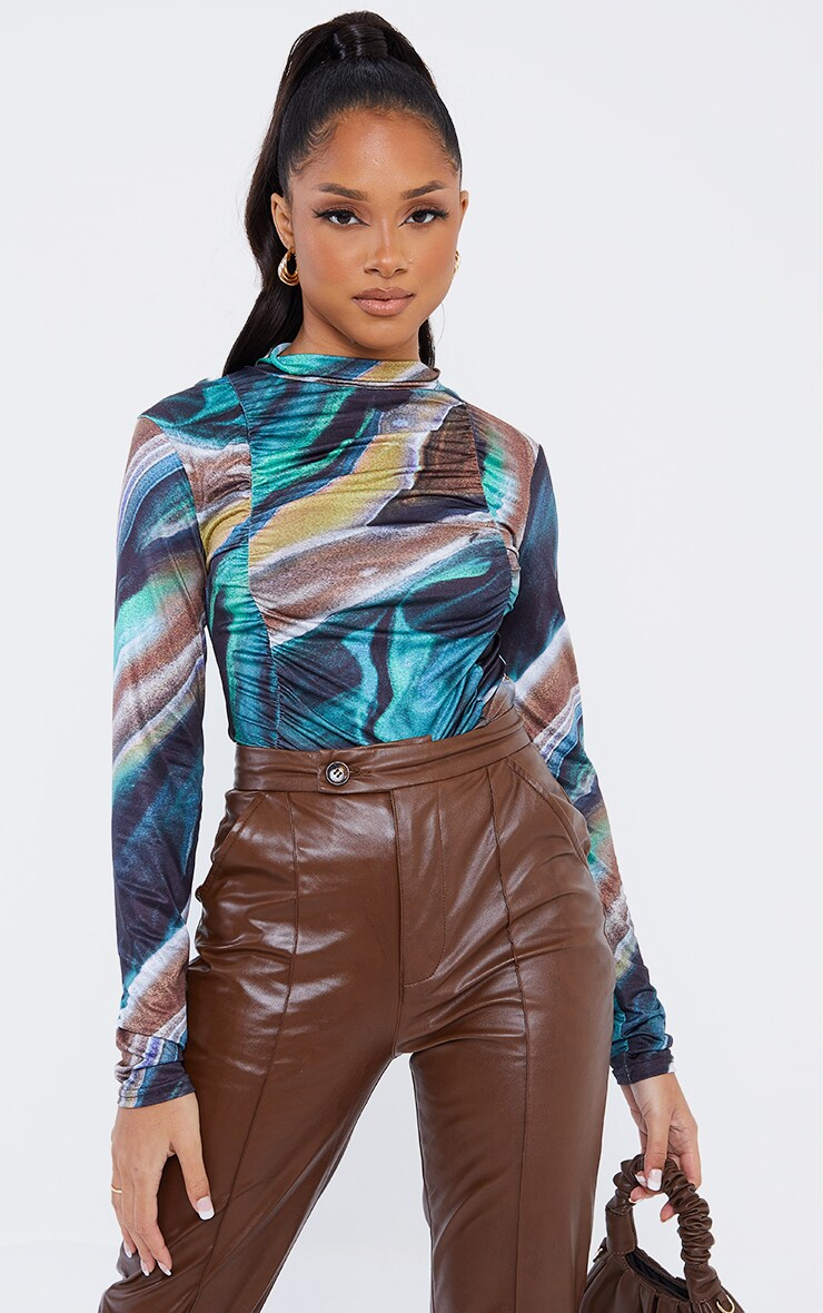 Dark Teal Marble Print Jersey Draped High Neck Bodysuit 3