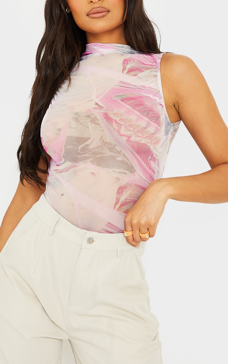 Lilac Abstract Marble Sheer High Neck Ruched Bodysuit 4