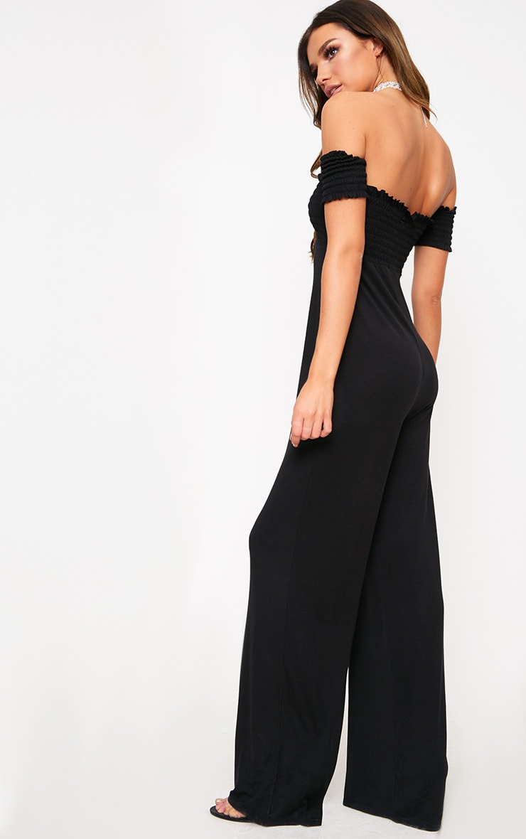 Black Bardot Shirred Jumpsuit 2