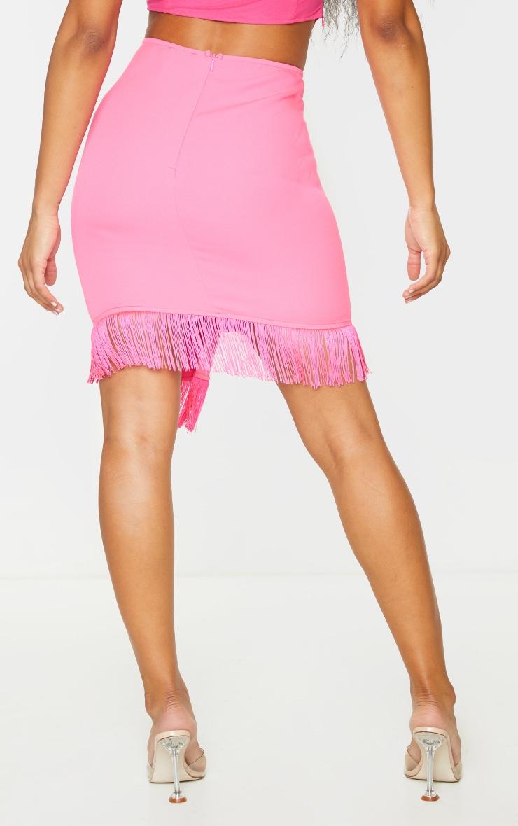 Hot Pink Woven Tassel Tie Waist Wrap Skirt 3