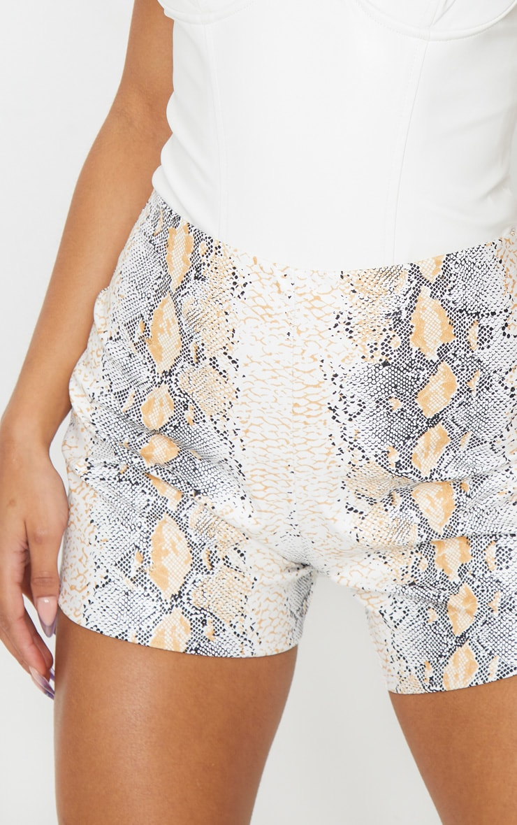 Taupe Faux Leather Snake Skin Short 5