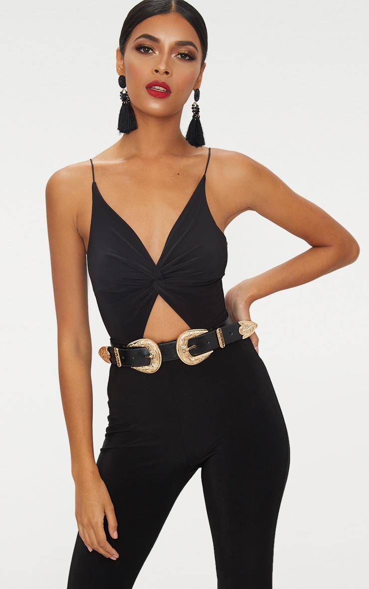 Black Slinky Twist Front Thong Bodysuit  1