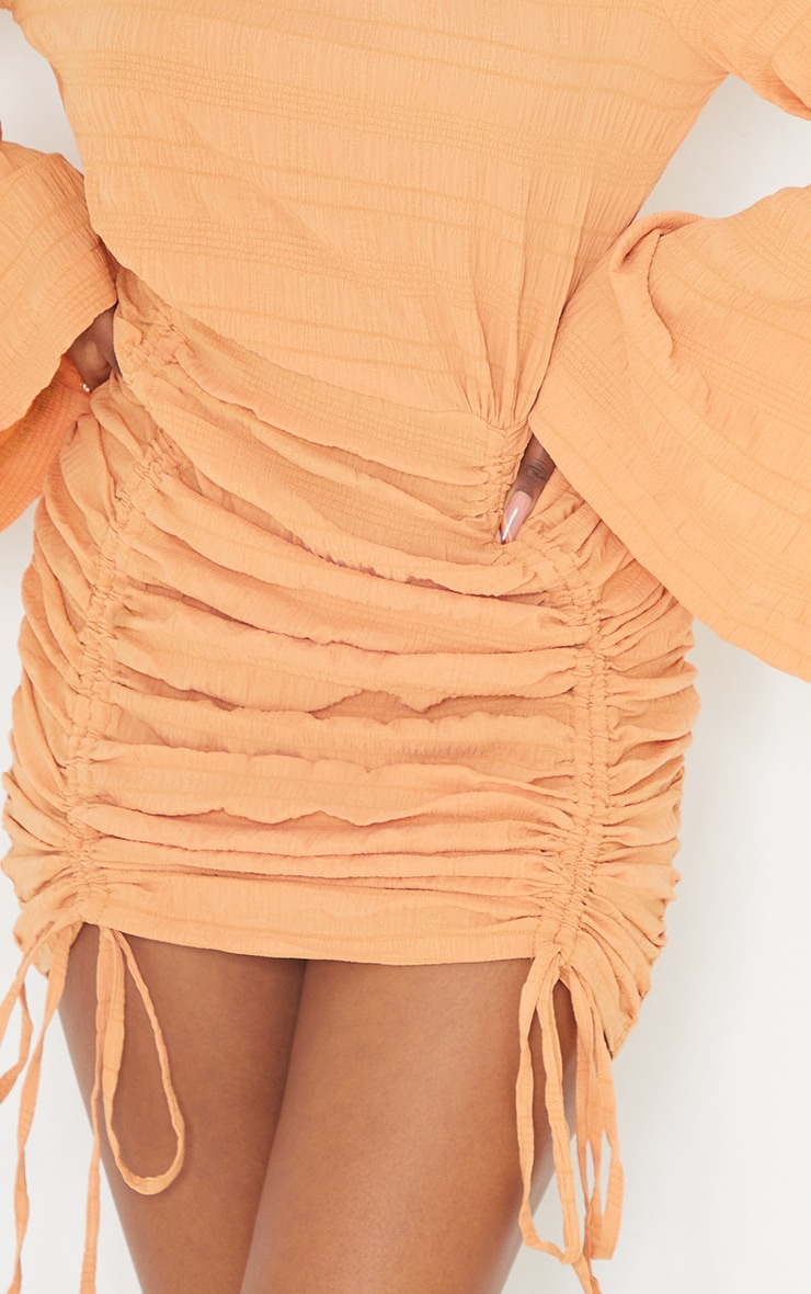 Tangerine Textured Ruched Detail Flare Sleeve Bodycon Dress 4
