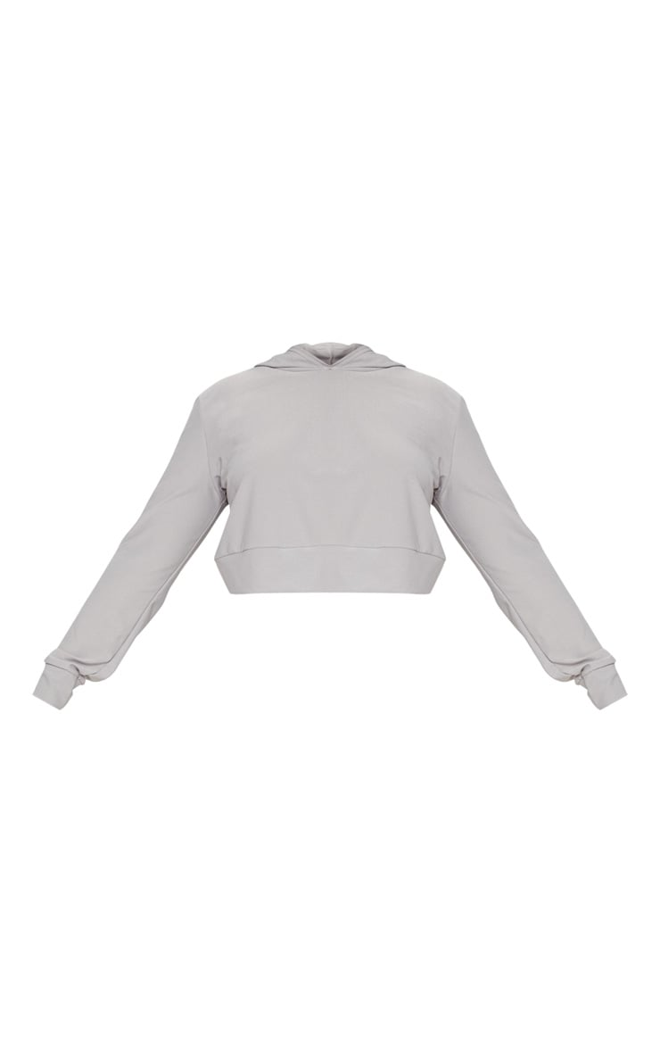 Plus Grey Marl Cropped Hoodie Top 3