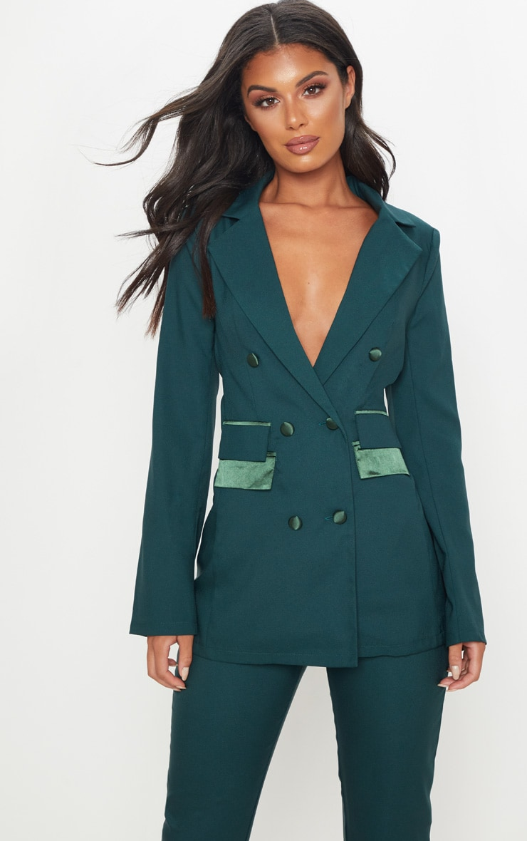 Dark Green Triple Breasted Oversized Blazer 1
