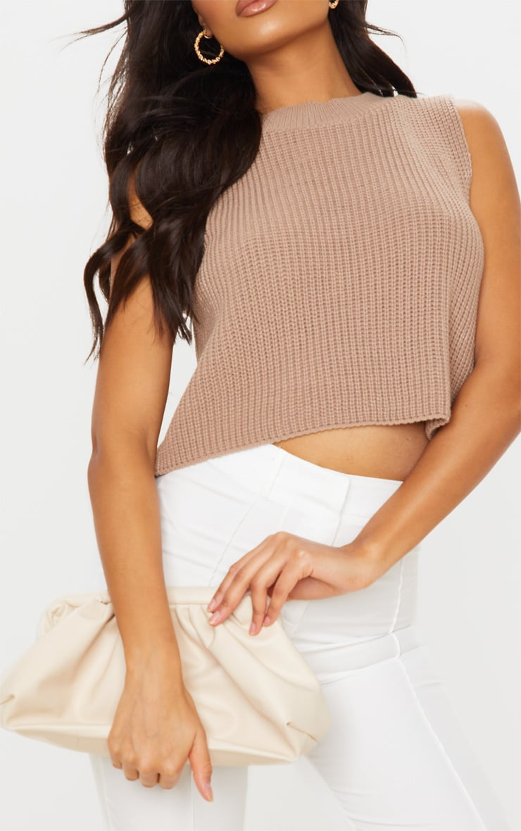 Mocha Sleeveless Slouchy Knitted Vest 4