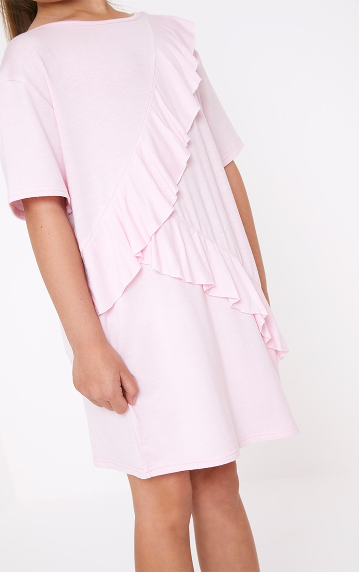 Ruffle Front Pink T Shirt Dress  5