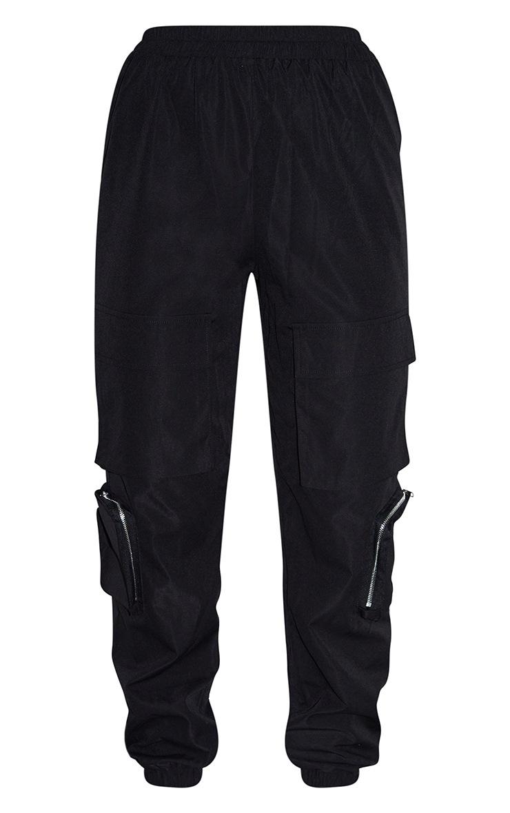 Black Woven Elasticated Waist Joggers 5