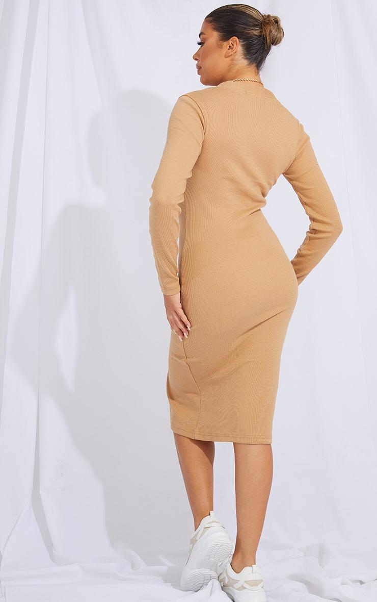 Camel Thick Rib Button Through Long Sleeve Midi Dress 2