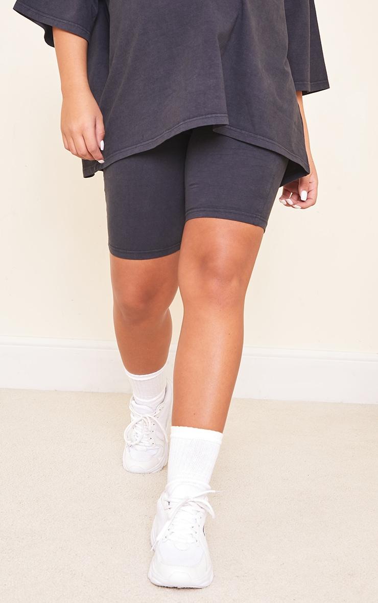 Maternity Acid Wash Grey Bump Support Cotton Cycle Shorts 2