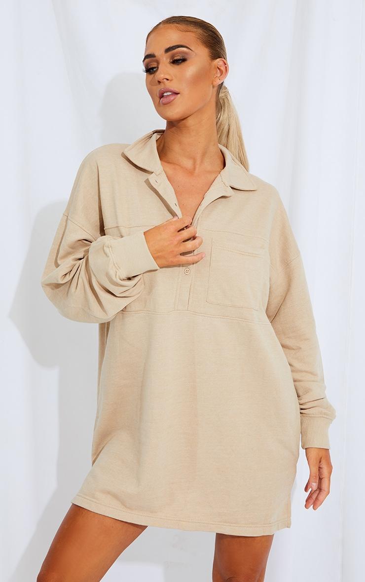 Stone Polo Collar Binding Detail Sweat Jumper Dress 1