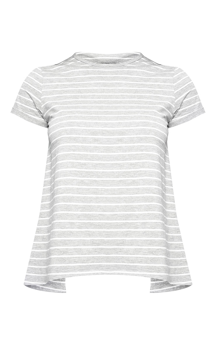 Grey Marl Stripe Open Back T Shirt 3