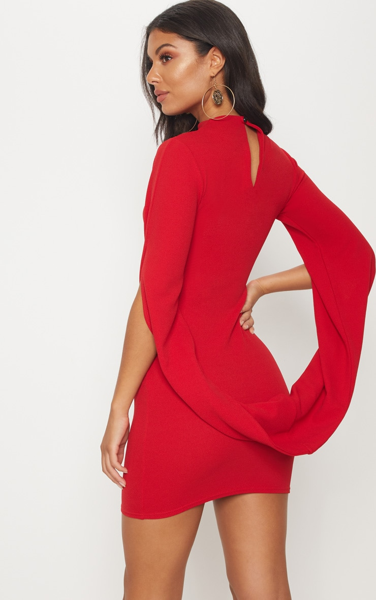 Red High Neck Draped Cape Sleeve Bodycon Dress