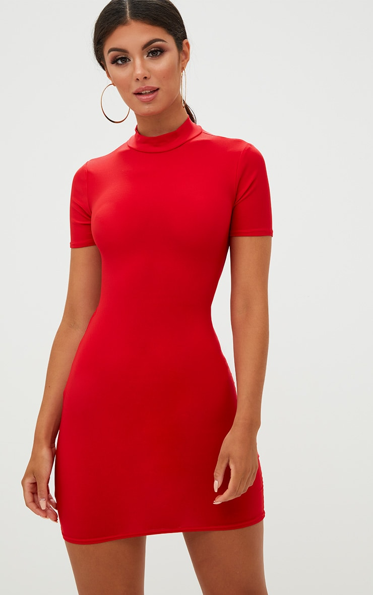 Red High Neck Short Sleeve Tie Back Bodycon Dress 2