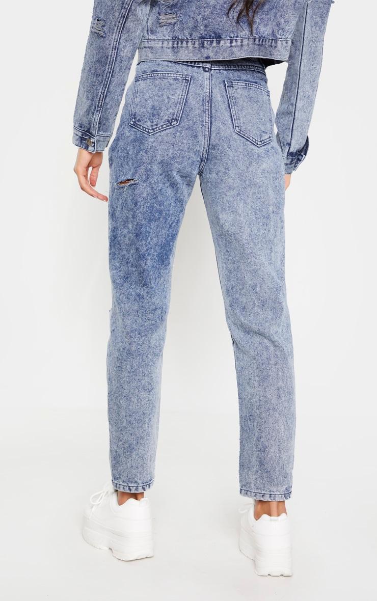 Indigo Vintage Wash Distressed Denim Jeans 4