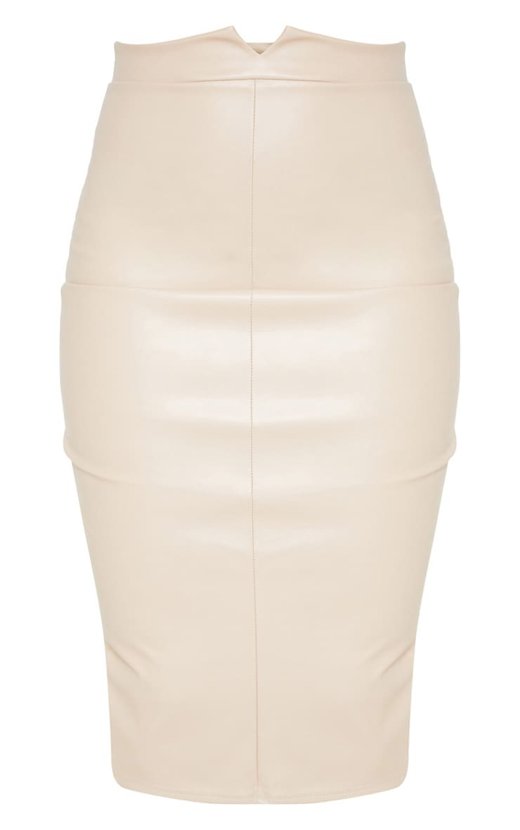 Eva Nude Faux Leather Panel Midi Skirt 3