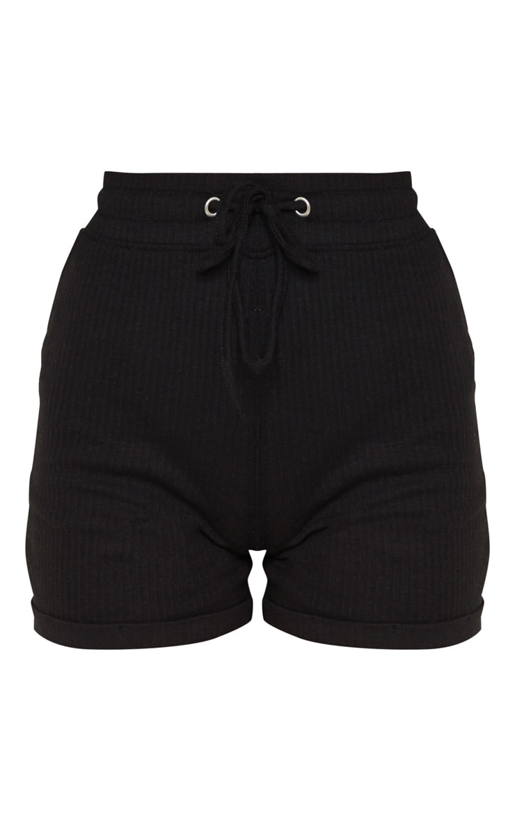 Black Structured Rib Drawstring Waist Shorts 6
