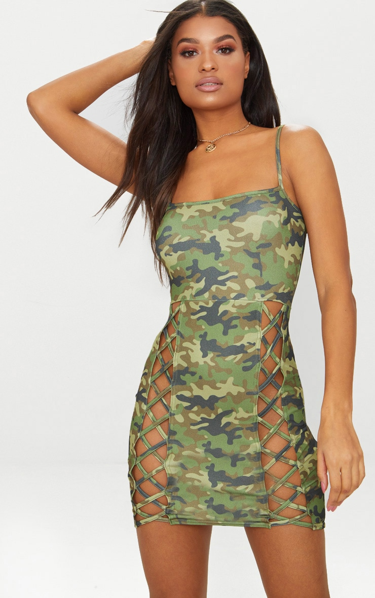 Green Camo Strappy Square Neck Lace Up Thigh Bodycon Dress 1