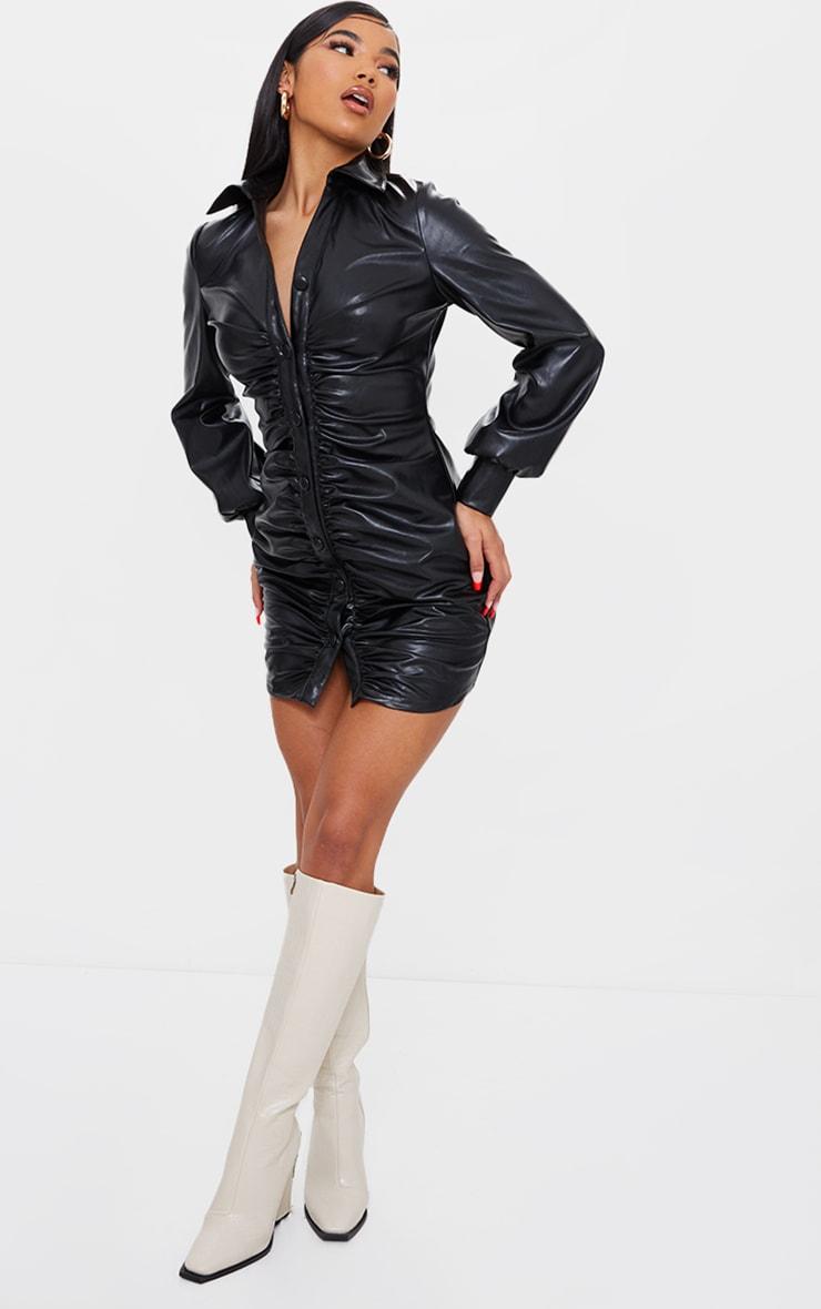 Black PU Ruched Shirt Style Bodycon Dress 3