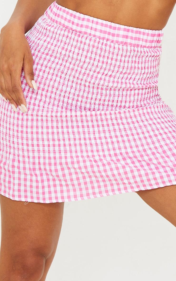 Pink Gingham Ruched Frill Hem Mini Skirt 5