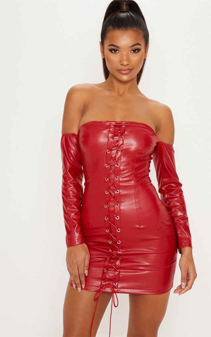 Red Faux Leather Bardot Lace Up Bodycon Dress 1