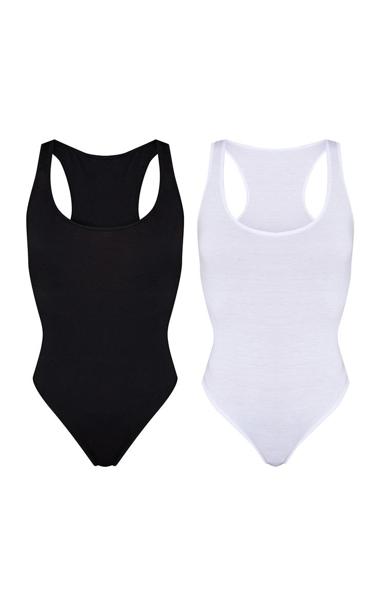 Basic Black & White Cotton Blend Racer Back Bodysuit 2 Pack 5