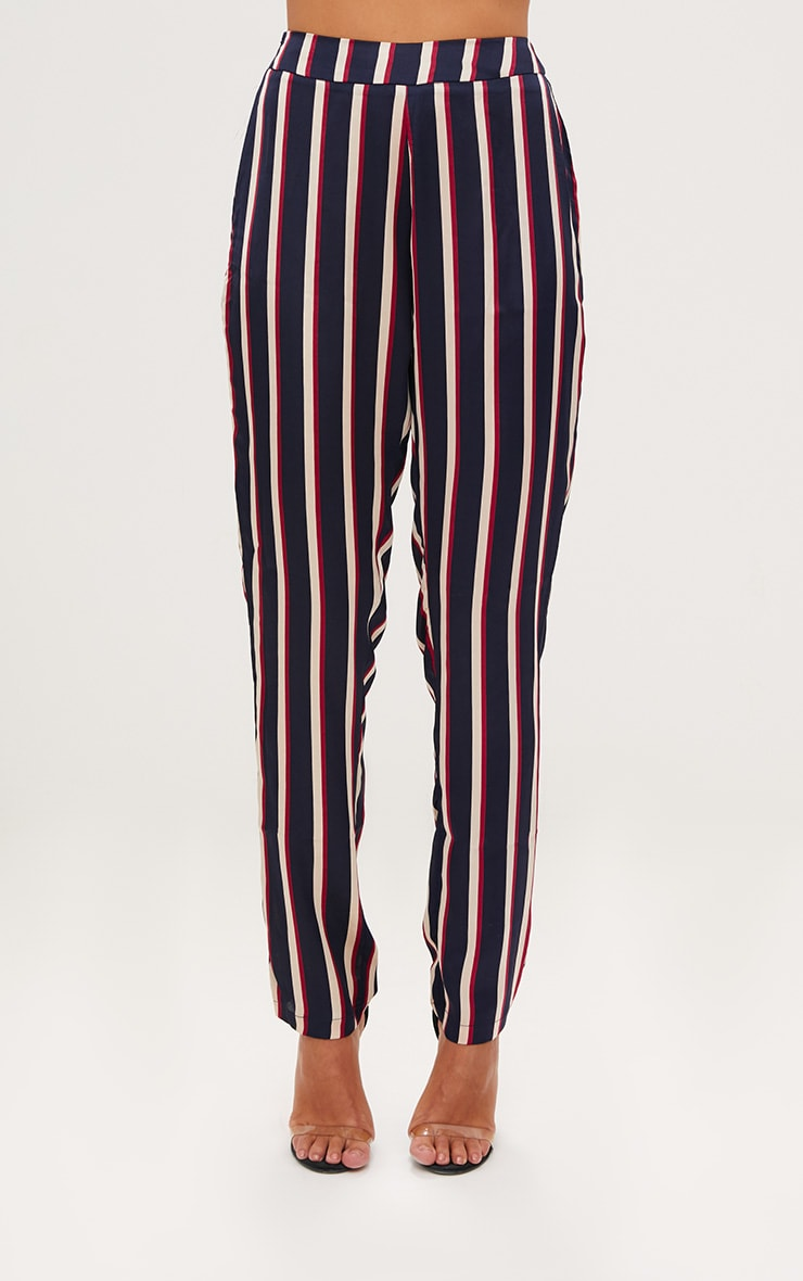 Navy Satin Diagonal Stripe Peg Trouser  2