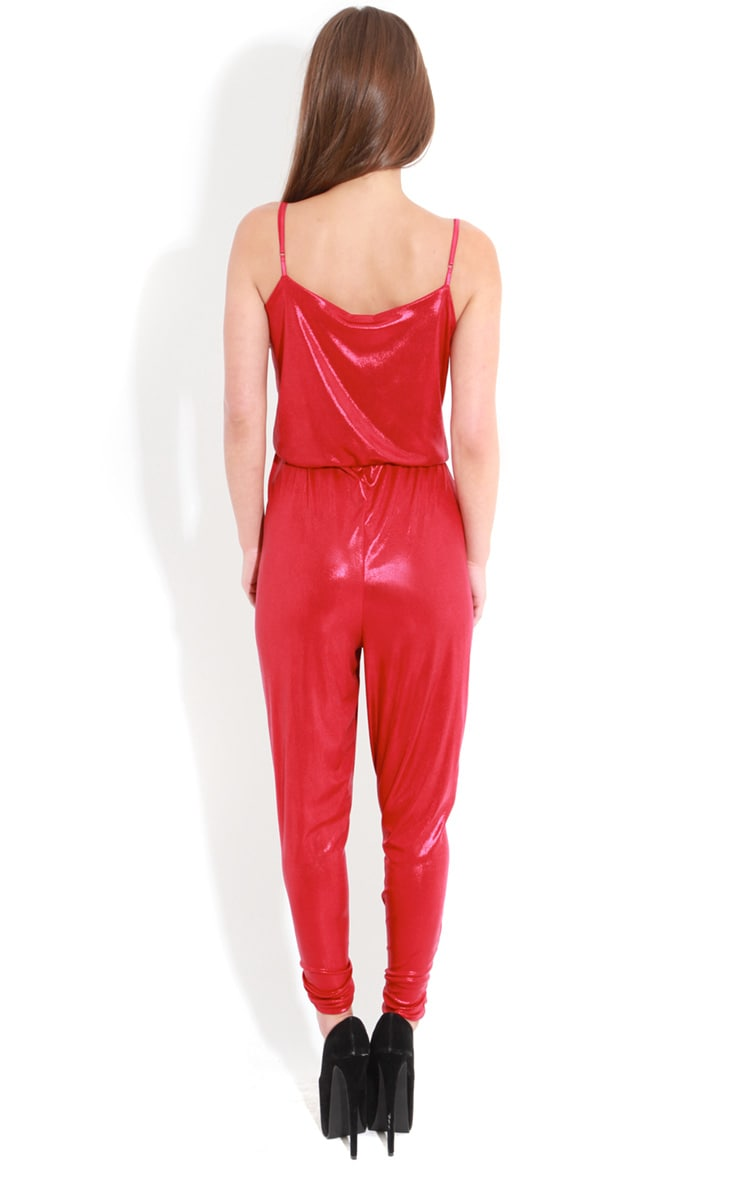Logan Red High Shine Jumpsuit  2