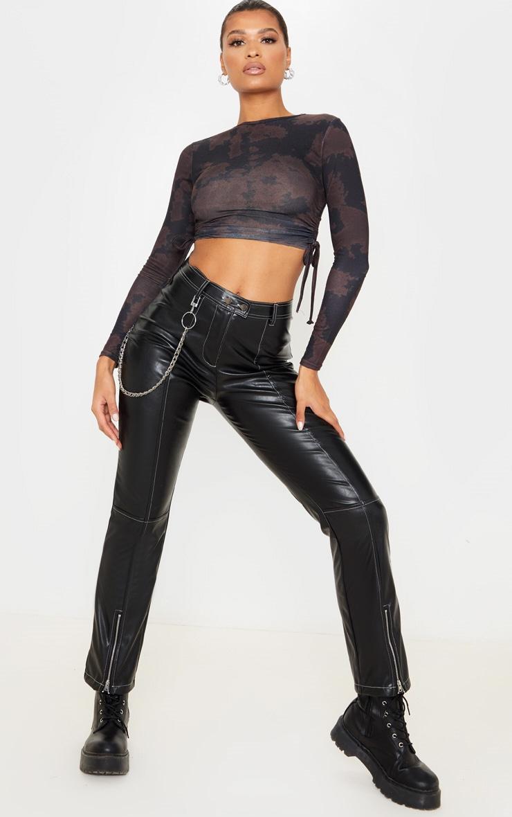 Top à manches longues en jersey noir imprimé tie & dye et côtés froncés 4