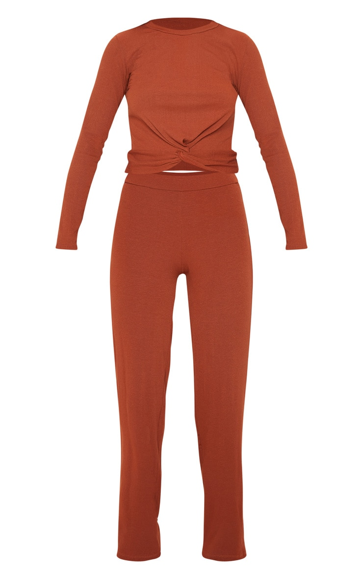 Rust Ribbed Co-Ord 3