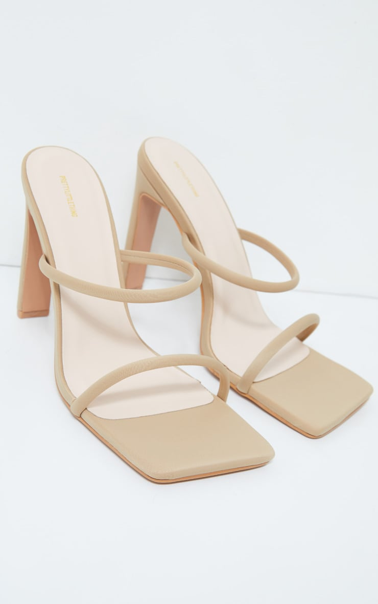 Nude Lycra Extreme Square Toe Twin Strap Mule High Heels 3